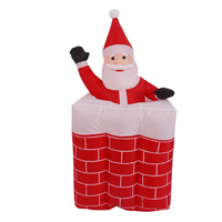 1.6m Santa Claus Mascot LED Lighted Inflatable Toys with chimney Christmas Halloween Party Props Yard Garden Party Parks Deco