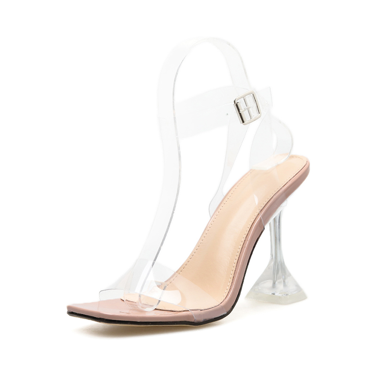 Image 2 - Kcenid 2020 New fashion PVC jelly sandals women open toe ankle strap transparent ladies sandals shoes perspex heel clear shoesHigh Heels   -