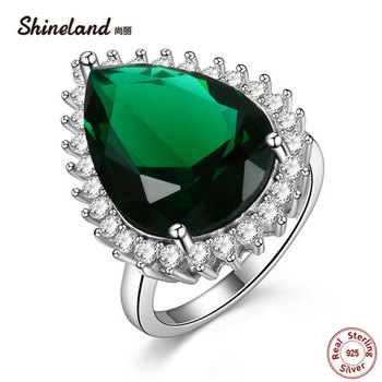 Shineland Engagement Wedding Red Green Black Waterdrop Stone Ring Cubic Zirconia 925 Sterling Silver Rings For Women Best Gifts