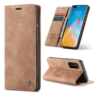 Image 1 - Leather Magnetic Flip Case For Huawei P40 P30 P20 Lite Pro Psmart nova 7i Mate 30 5G 4G Case Wallet Book Card Holder Stand Cover