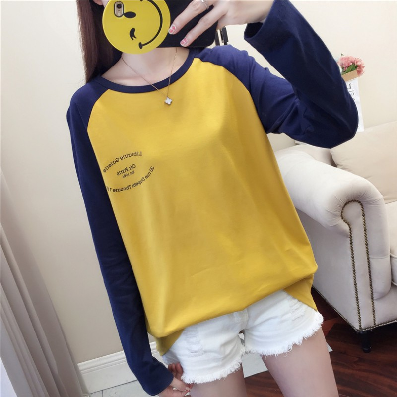 Casual Loose Women T Shirt Round Collar Autumn New Color Matching Letter Print Loose Long Sleeve Simple Wild T Shirt in T Shirts from Women 39 s Clothing