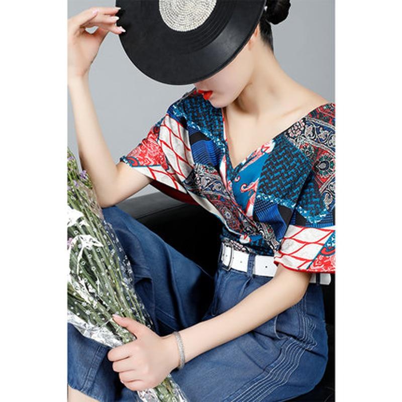 Femmes Blouses imprimées à manches courtes en mousseline de soie Blouse sexe col en V dame bureau chemise décontracté hauts Blusas Blouse et Chemisier Femme
