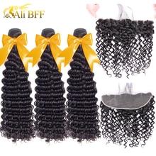 ALI BFF mechones de pelo ondulado con Frontal brasileño, cierre Frontal de malla, extensiones de cabello humano mechones con Frontal