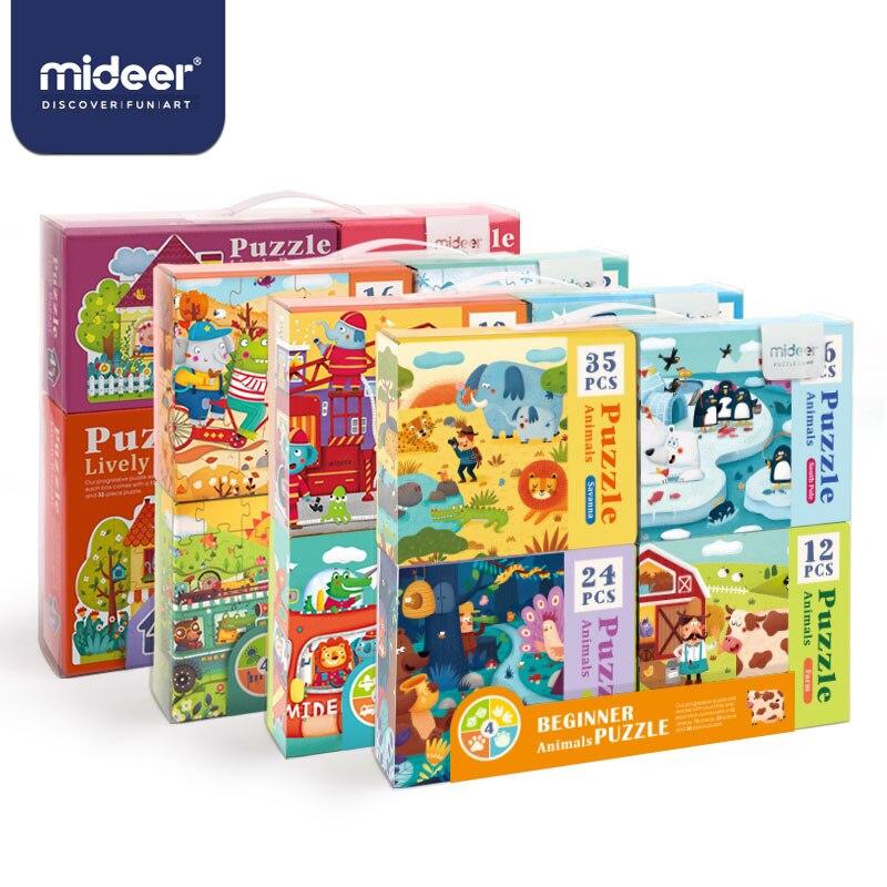 Rompecabezas MiDeer para niños juguetes para niños rompecabezas de papel 16/32 Uds. Animales de dibujos animados juguetes educativos para niños caja de rompecabezas> 3 Y