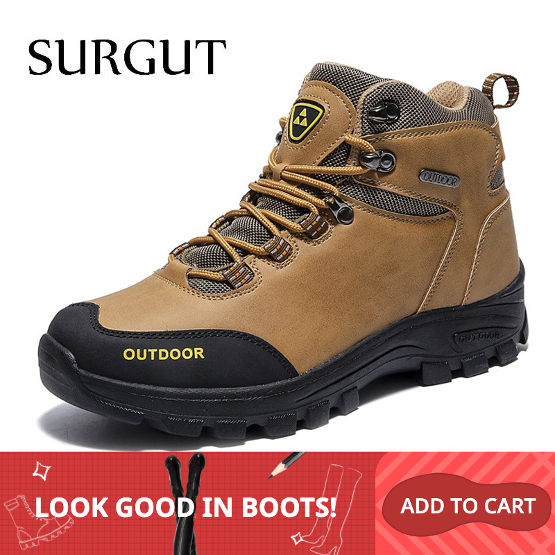 SURGUT Genuine Leather Men Boots Autumn Winter Man Fashion Casual Shoes Men Motorcycle Ankle Boot Outdoor Quality Working Boots