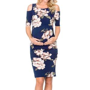 Dress Pregnancy-Fitted Floral-Print Cold-Shoulder Women Maternity Fashion Kids