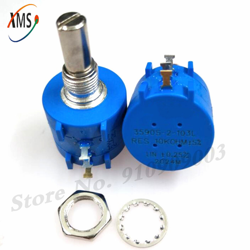1 pces 3590s-2-103l 3590s 10k ohm 103 3590s-2-103 3590s-103 precisão multiturn potenciômetro 10 anel resistor ajustável