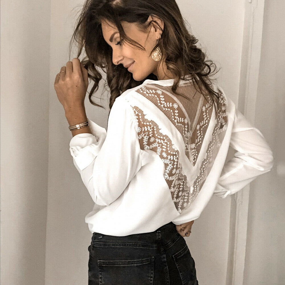 Sexy Women Lace Patchwork Casual Long Lantern Sleeve V-Neck Back V Loose Long Chiffon Blouse Shirt Top Evening Party Clubwear