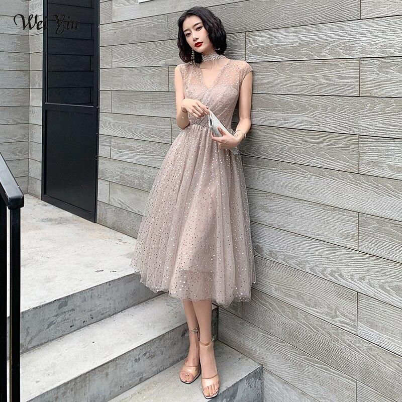 Wei Yin AE0379 Prom Dress Elegant V-neck Shining Short Vestidos De Gala Pleat Sequin Plus Size Women Party Dresses
