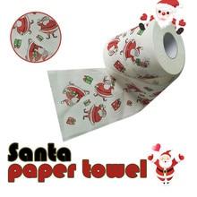 1Roll Santa Claus/Deer Merry Christmas Toilet Paper Supplies Printed Home Bath Living Room Toilet Paper Tissue Roll Xmas