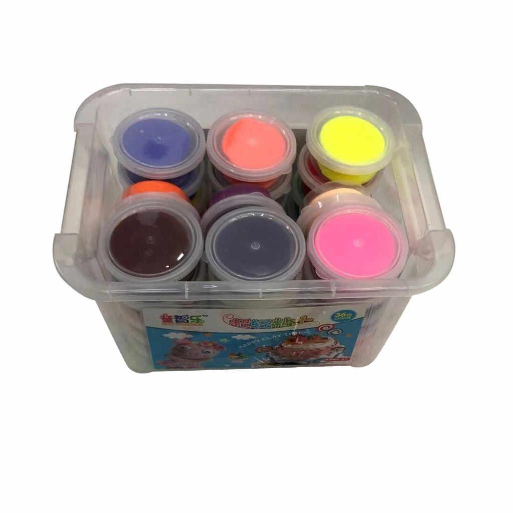 36 Warna Aman Warna-warni Plasticine Light Clay Mainan Kering Polimer Tanah Liat Lembut DIY Anak-anak Awal Mainan Pendidikan untuk Anak-anak hadiah