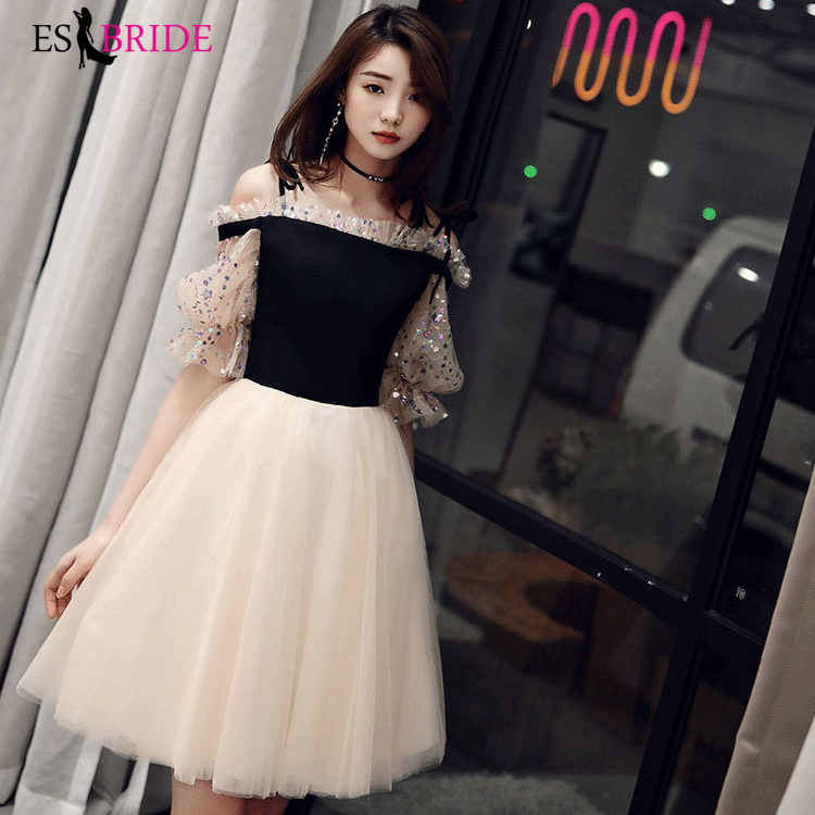 Elegant Cocktail Dresses ES30310 A-Line Tulle Above Knee Short Sleeves Summer Beach Party Dresses 2019 Robe Cocktail