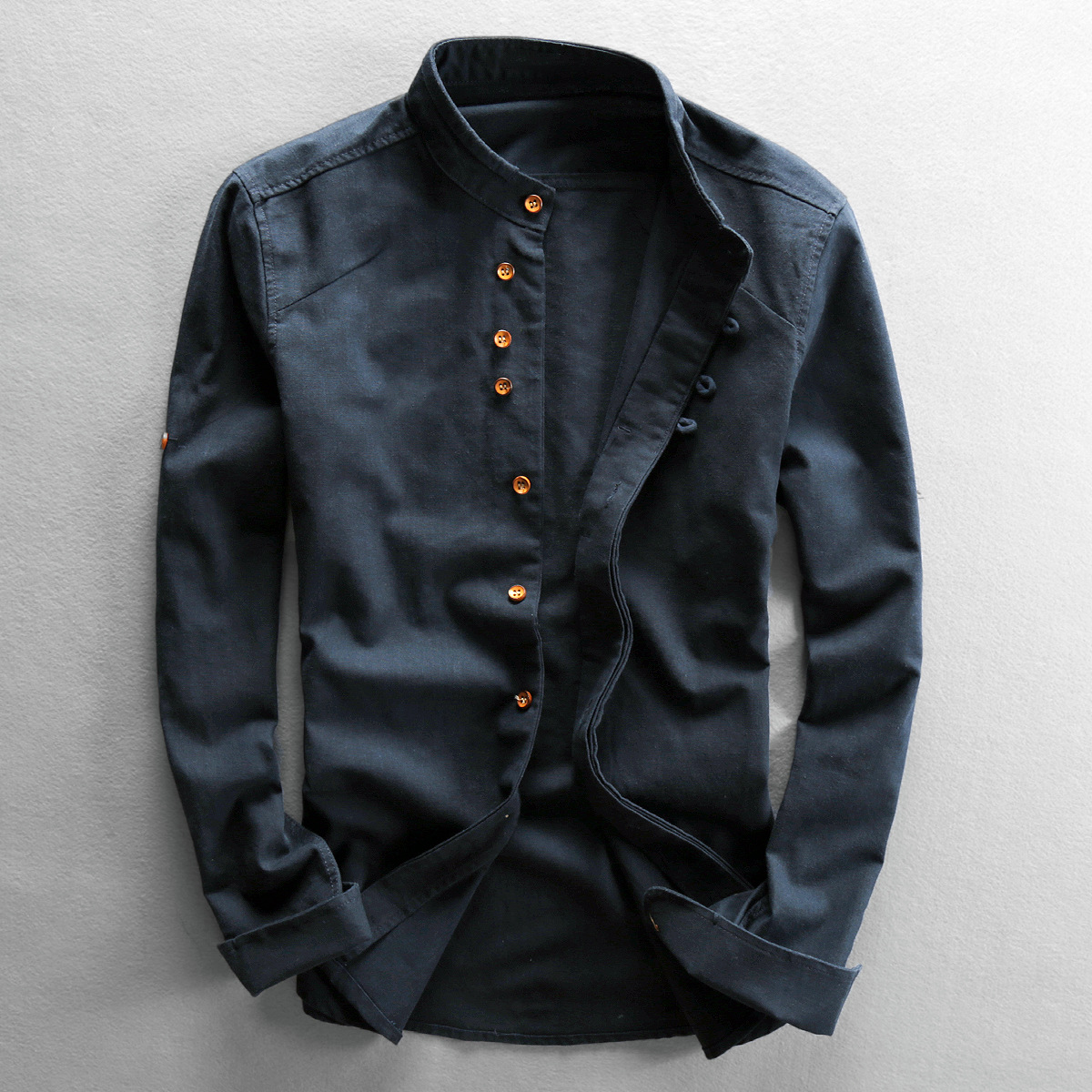2020 Long Sleeve Men's Casual Linen Shirt Chinese Style Stand Collar Button Up Slim Cotton Linen Retro Shirts