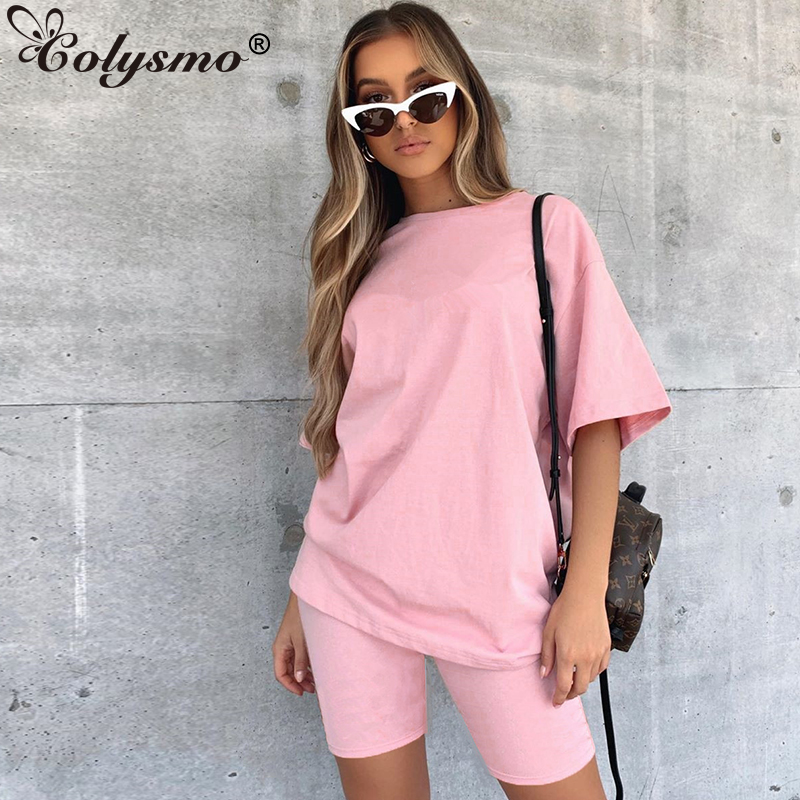 Colysmo Activewear Two Piece Set Summer Active Set O-neck Short Sleeve Tops Biker Shorts Sets For Women Tracksuit Casual Clothes