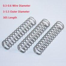 Mola de compressão de aço inoxidável 304, 2 peças, 0.3/0.4/0.5/0.6mm de diâmetro do fio 3/3.5/4/4.5/5/5. diâmetro exterior 5mm comprimento 305mm