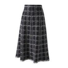 Новейшая английская Женская клетчатая трикотажная средней длины Офисная Женская юбка Алина весна осень базовые юбки с кисточками Лоскутная юбка одежда