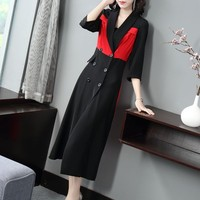 Top Brand Elegant Double Breasted Panelled Ladies A Line Dresses Three Quarter Sleeve Notched Slim Womens Medium Length Dresses