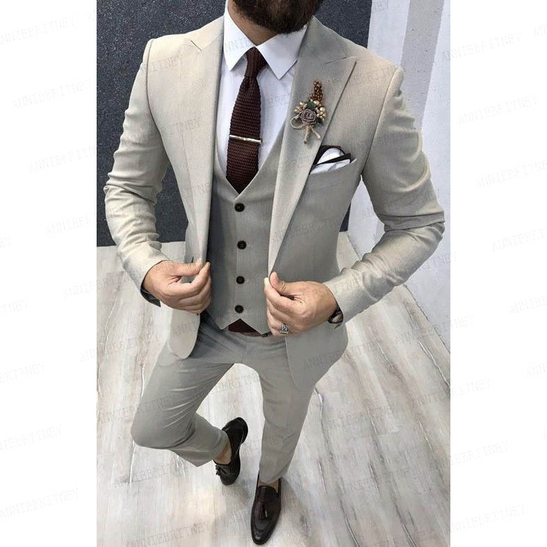 wedding : 2020 Brand Mens Wedding Suit Set Slim Fit Dinner Prom Grooms Dress Tuxedo Custom Grey Business Blazer Best Man Jacket with Pants