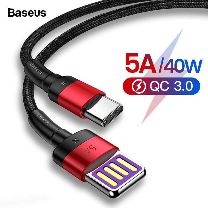 Baseus USB C 5A USB Type C Cable For Huawei Mate 30 20 P30 P20 Pro Lite Fast Charging USB C Charger Type c Cable For Xiaomi mi-in Mobile Phone Cables from Cellphones & Telecommunications on AliExpress