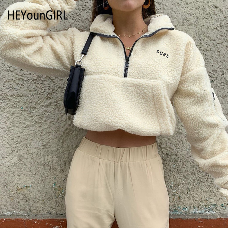 HEYounGIRL Turn-down Collar Casual Sweatshirt Women Lamb Wool Long Sleeve Pullovers Ladies Zipper Embroidery Letter Hoodies 2019