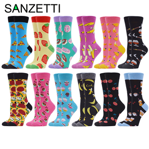Image 1 - SANZETTI 12 Pair Womens Combed Cotton  Socks Colorful Happy Funny Fruit Lovely Novelty Wedding Bright Gifts Dress Popular Socks
