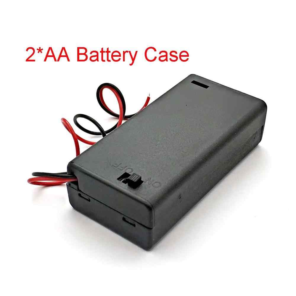 2 X AA 3V Hitam Holder Konektor Penyimpanan Case Kotak On/OFF Switch dengan Kawat Ringan