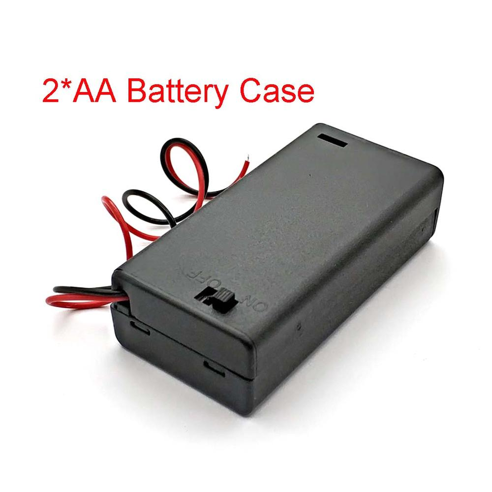 2 X AA 3V Black Battery Holder Connector Storage Case Box ON/OFF Switch With Lead Wire Lightweight