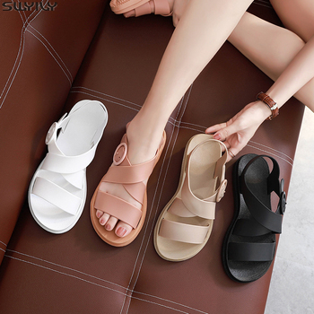 SWYIVY PVC Casual Sandal Ladies Solid Rome Women Sandals 2020 Summer Women's Shoes Buckle Strap Flat Sandals For Woman Fashion