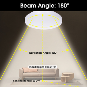 Image 5 - LED Ceiling Light with Motion Sensor 12W with Daylight Sensor 27cm Diameter Ceiling Lamp for Basement Garage Closet Hallways