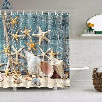 beach conch starfish circles waterproof bath curtain Seaside Scenic Beach Shells Shower Curtains Bathroom Curtain Frabic Waterproof Polyester Bath Curtains for Bathroom 180x180cm