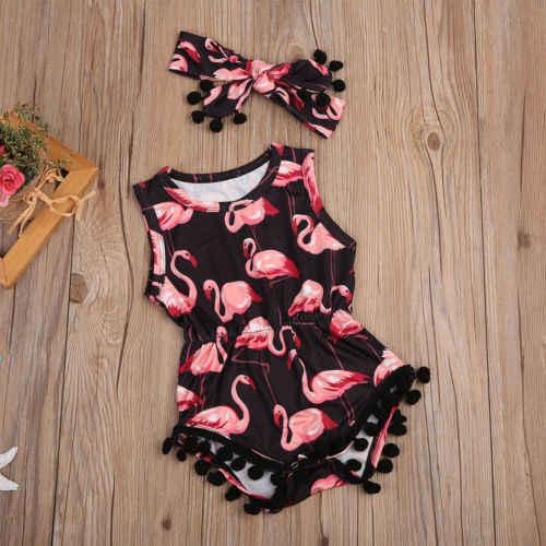 """המניות בארה""""ב תינוקת ללא שרוולים בגד גוף גומייה לשיער 2pcs סרבל תלבושות פלמינגו חליפת קיץ גודל 0-24M"""