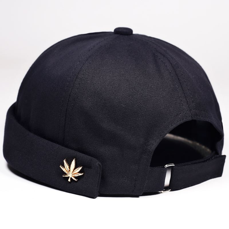 Men Women Skullcap Sailor Cap Leaf Rivet Embroidery Warm Rolled Cuff Bucket Cap Brimless Hat Solid Color Adjustable Cotton Hats