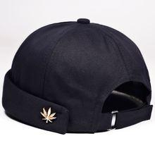 Hombres Mujeres Skullcap Sailor Cap hoja remache bordado caliente enrollado Cuff Cap sombrero Sin borde de Color sólido ajustable sombreros de algodón