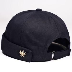 Men Women Skullcap Sailor Cap Leaf Rivet Embroidery Warm Rolled Cuff Bucket Cap Brimless Hat Solid Color Adjustable Cotton Hats(China)