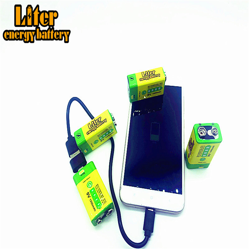 <font><b>9V</b></font> 6F22 USB <font><b>1200mAh</b></font> Lipo rechargeable lithium ion battery for smoke alarm wireless microphone Guitar Bank power mobile phone image