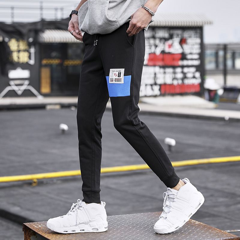 2019 Autumn New Style Men Casual Fashion Casual Pants Trend Casual Capri Pants Men Skinny Pants Laced Pants