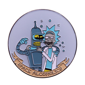 Space Alcoholics Collar Brooch and Lapel Pin Bender Rick Drunk Brooch Fan Collection Gifts