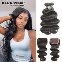 Ondulados mechones de pelo negro perla con cierre, cabello humano Remy, 3 mechones con cierre, extensiones de pelo ondulado mechones brasileños