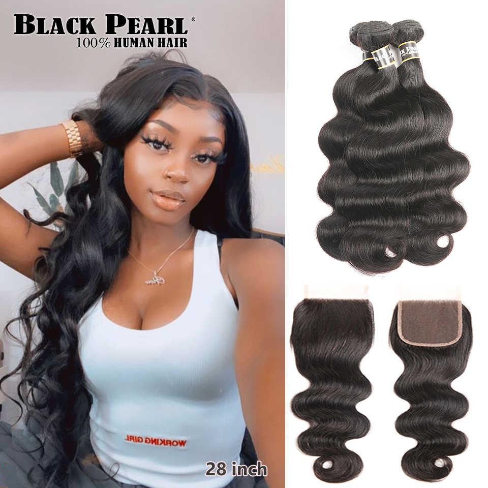 Mechones con ondas de cuerpo de perla negra con cierre pelo humano Remy 3 mechones con cierre extensiones de pelo ondulado mechones brasileños