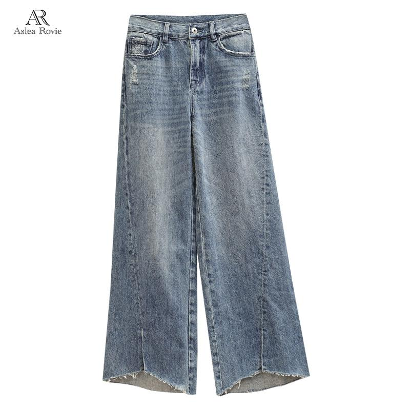 Women Jeans High Waist Splice Zipper Casual Plus Size Softener Loose Street Style Ankle-length Wide Leg Pants 4xl 5xl