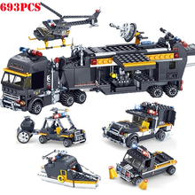 693Pcs 5 In 1 Military Swat Figures Team Police Truck Car Helicopter Boat Building Blocks Compatible City Bricks Toys For Child