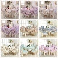 High quality European jacquard Table Cloth Rectangular Dining Table Chair Cover 1PCS tablecloth 6PCS chair cover bundle sale
