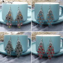 Crazy Feng Vintage Women Drop Earrings Ethnic Crystal Long Leaf Dangle Hanging Earrings For Women Indian Wedding Earings Jewelry vintage ethnic leaf shape drop dangle earrings hanging blue stone beads earrings for women fashion wedding jewelry accessorries