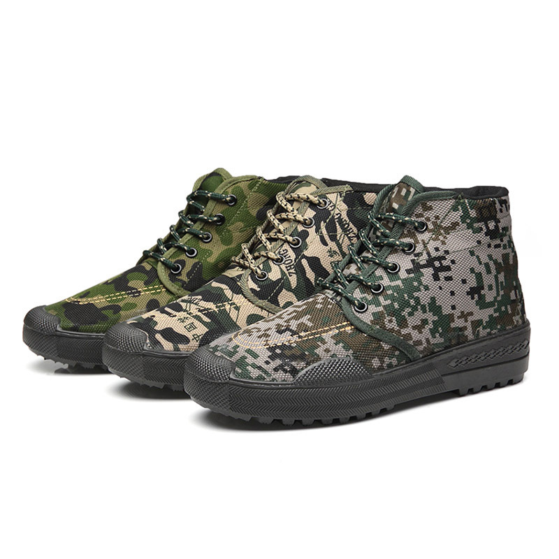 Women Work Shoes Espadrilles Farm-specific Camouflage Camouflage Air Cushion Espadrilles Platform Wear-resistant Unisex Lace Up
