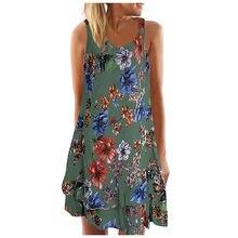 WomenSummer V boyun elbise bayan kolsuz Boho elbiseler bayanlar baskılı plaj parti elbise sabiye gece elbisesi # s