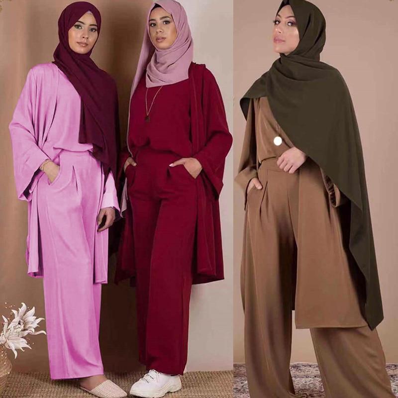 Three-piece Abaya Turkish Kimono Tops Pants Muslim Dress Abayas Hijab Robe Dubai Caftan Kaftan Islam Clothing For Women Djellaba
