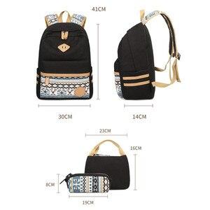 Image 2 - 3 adet Set tuval nokta sırt çantası çocuklar okul çantaları hafif genç kızlar Laptop sırt çantaları yalıtımlı öğle yemeği çantası + kalem kılıf