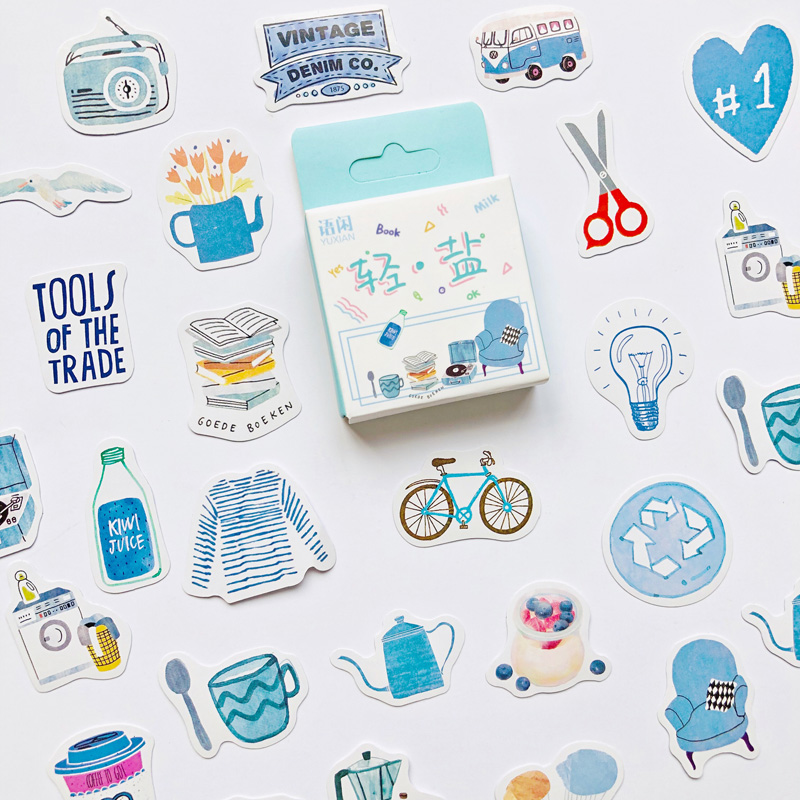 50pcs /Box Blue Style Daily Life DIY Sticker Stick Label Diary Decor