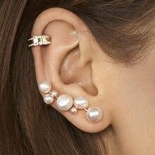 EN 2 pièces/ensemble boucles d'oreilles à Clip EN perle, faux Piercing, boucles d'oreilles à clous, bijoux EN cristal, accessoires, cadeaux, nouveau