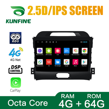 Octa Core 1024*600 Android 10.0 Car DVD GPS Navigation Player Deckless Car Stereo for KIA SPORTAGE R 2011-2017 2.0L Radio image